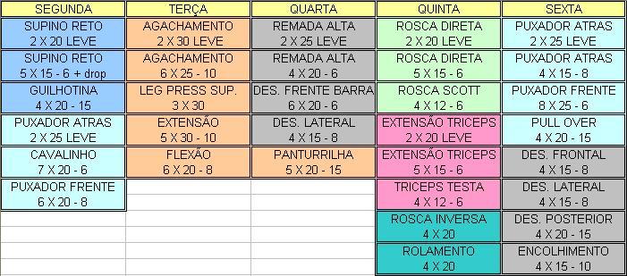 Muito Tabela de exercícios para academia semanal | Na Internet GQ85