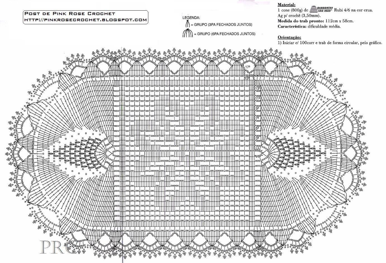 tapete de crochê com grafico desenho de flor