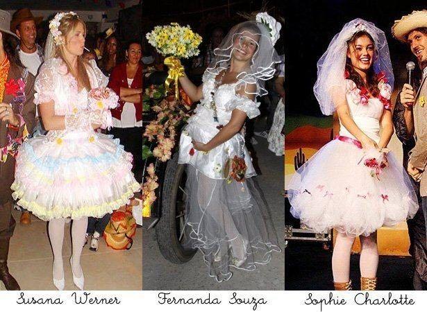 Vestidos de noiva para festa junina modelos bem brega