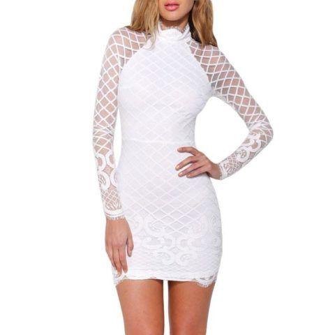 vestido-branco-justo-e-curto-com-renda-manga-longa