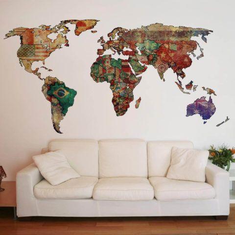 Adesivo de parede MAPA MUNDI sugesto de decorao  Na Internet