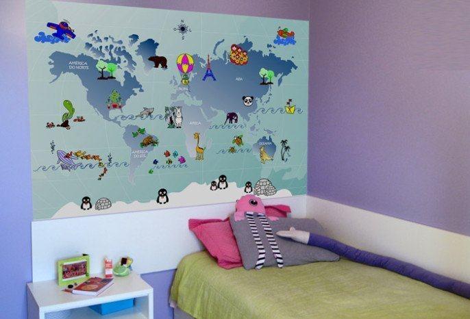 Aparador Verde Musgo ~ Adesivo de parede Mapa Mundi sugest u00e3o de decoraç u00e3o Na Internet