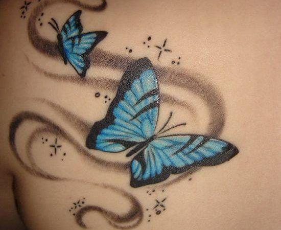 Tatuagens de borboletas nas costas,na barriga, com flores, em pele morena e no pulso