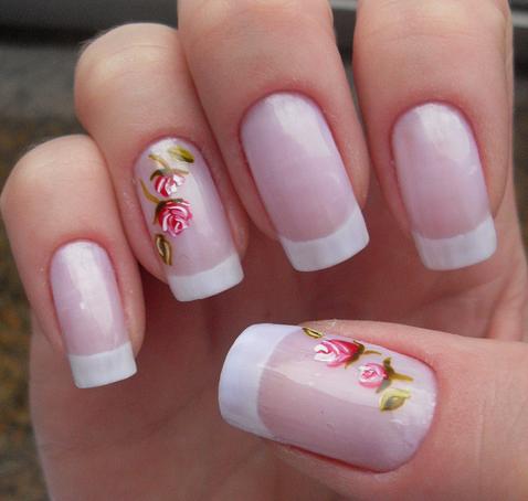 unhas decoradas francesinha com florzinha