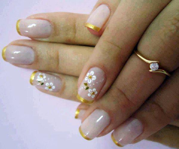 unhas decoradas francesinha dourada
