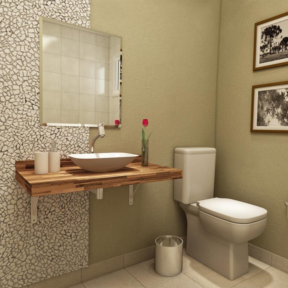 Bancada de banheiro em madeira confira os modelos  Na Internet # Tamanho De Uma Cuba Para Banheiro