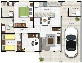 dicas de planta de casas com 2 quartos sendo 1 suite