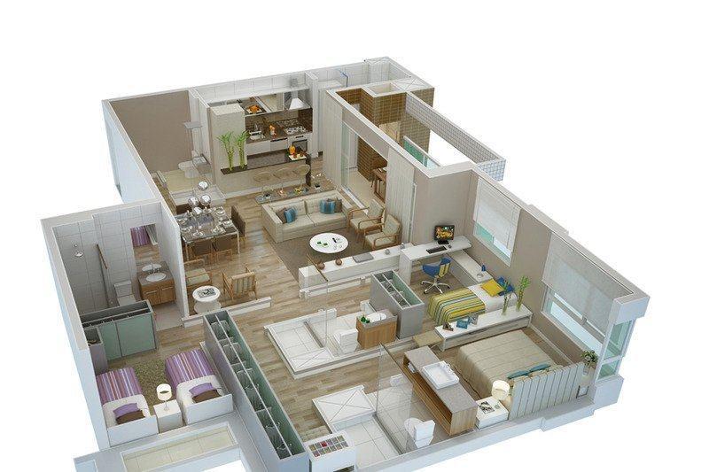 Planta de casas com 3 quartos em 3d veja os modelos na for Plantas casas modernas