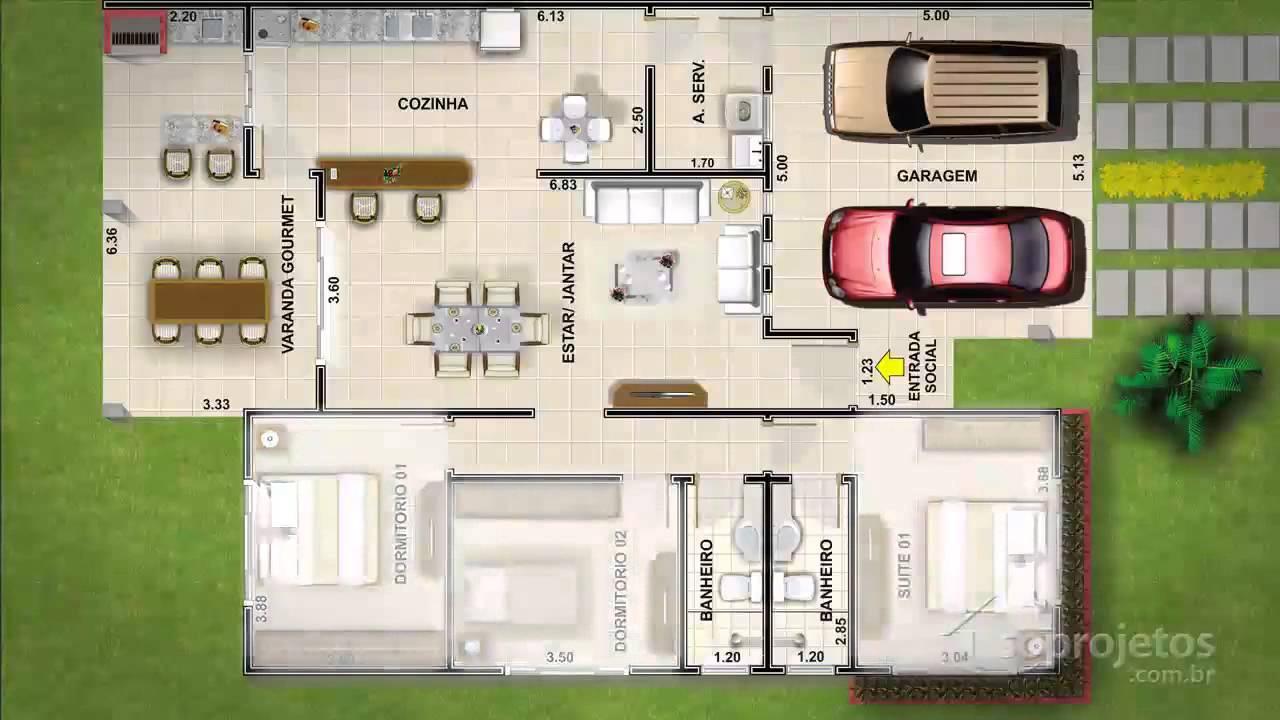 Plantas De Casas Com 2 Quartos Sala Cozinha E Banheiro Na Internet -> Quarto Sala E Cozinha Conjugadas