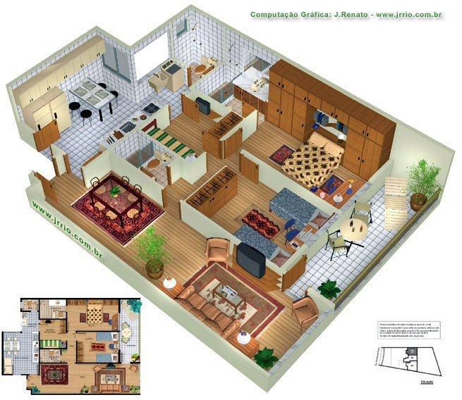 Planta de casas com 3 quartos em 3d veja os modelos na for Modelo de casa en 3d