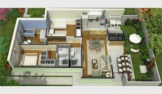 melhores planta de casas com 2 quartos sendo 1 suite 3d