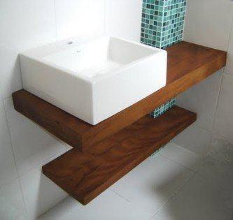 modelos de bancada de banheiro em madeira