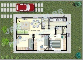 planta de casas com 2 quartos sendo 1 suite