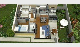 planta de casas com 2 quartos sendo 1 suite 3d