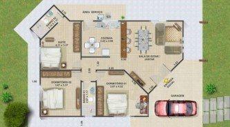 planta de casas com 2 quartos sendo 1 suite e garagem