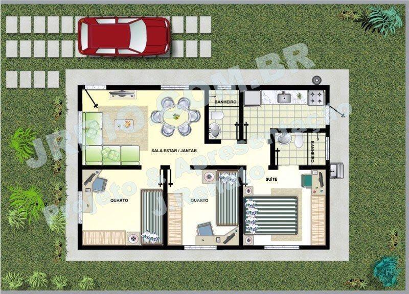 Planta de casas com 2 quartos sendo 1 suite escolha na for Casas 1 planta