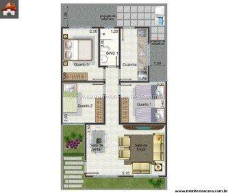 plantas de casas 60m2 com 3 quartos