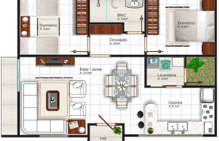 Plantas de casas com 2 quartos com sala cozinha e banheiro