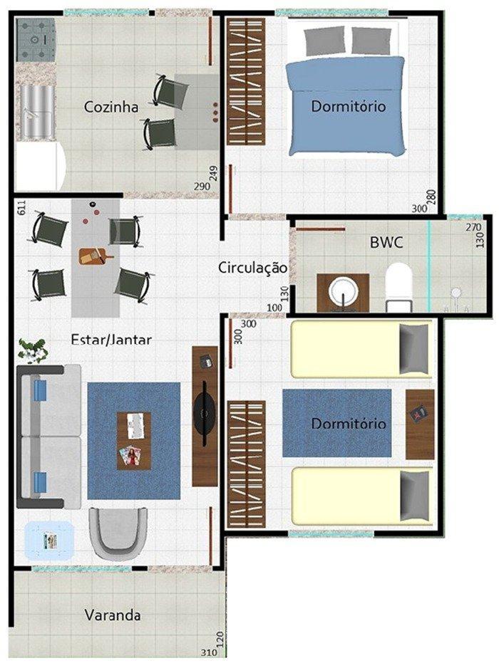 Plantas de casas com 2 quartos sala cozinha e banheiro  Na Internet -> Banheiro Simples Com Planta