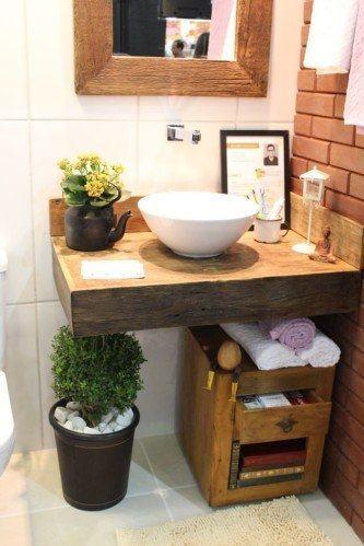 tipos de bancada de banheiro em madeira