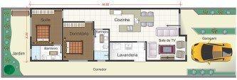 tipos de planta de casas com 2 quartos sendo 1 suite e garagem