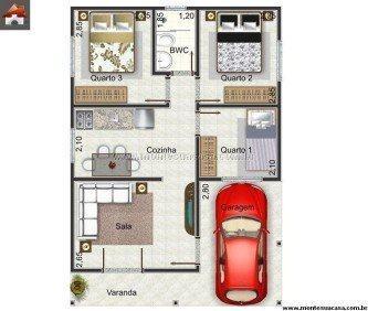 tipos de plantas de casas 60m2 com 2 quartos