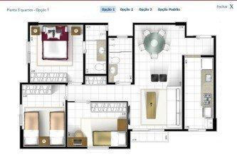 tipos de plantas de casas 60m2 com 3 quartos
