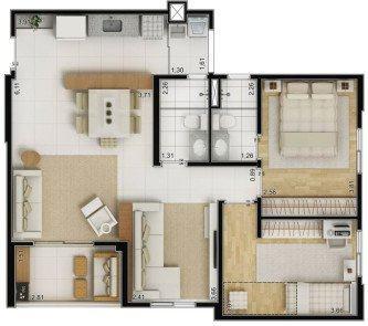 tipos de plantas de casas 70m2 com 2 quartos