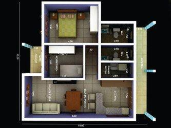 tipos de plantas de casas 70m2 com 2 quartos 3d