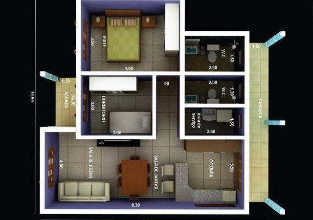 Modelos de Plantas de casas 70 m² com 2 quartos