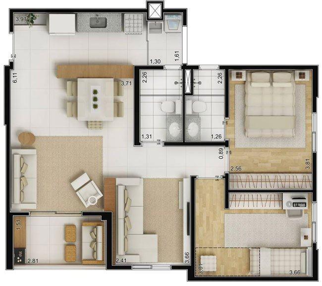 modelos de plantas de casas 70m2 com 2 quartos na internet