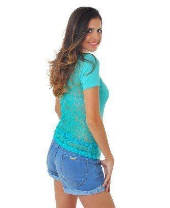blusa de renda nas costas azul