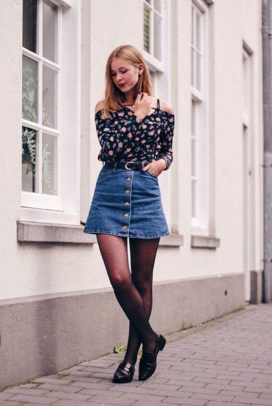 425d5468c89 Como usar Saia jeans com meia calça com muito charme