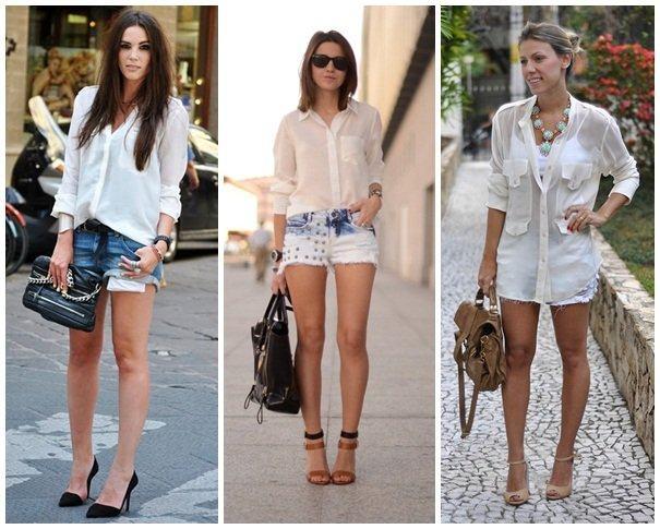 Shorts com camisa branca pra sair a noite bem elegante   Na Internet