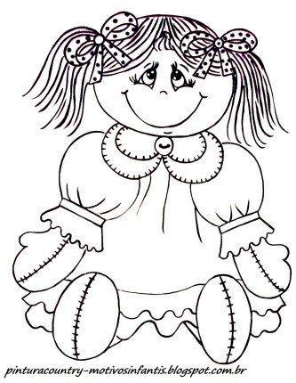 desenhos de bonecas de pano para pintar