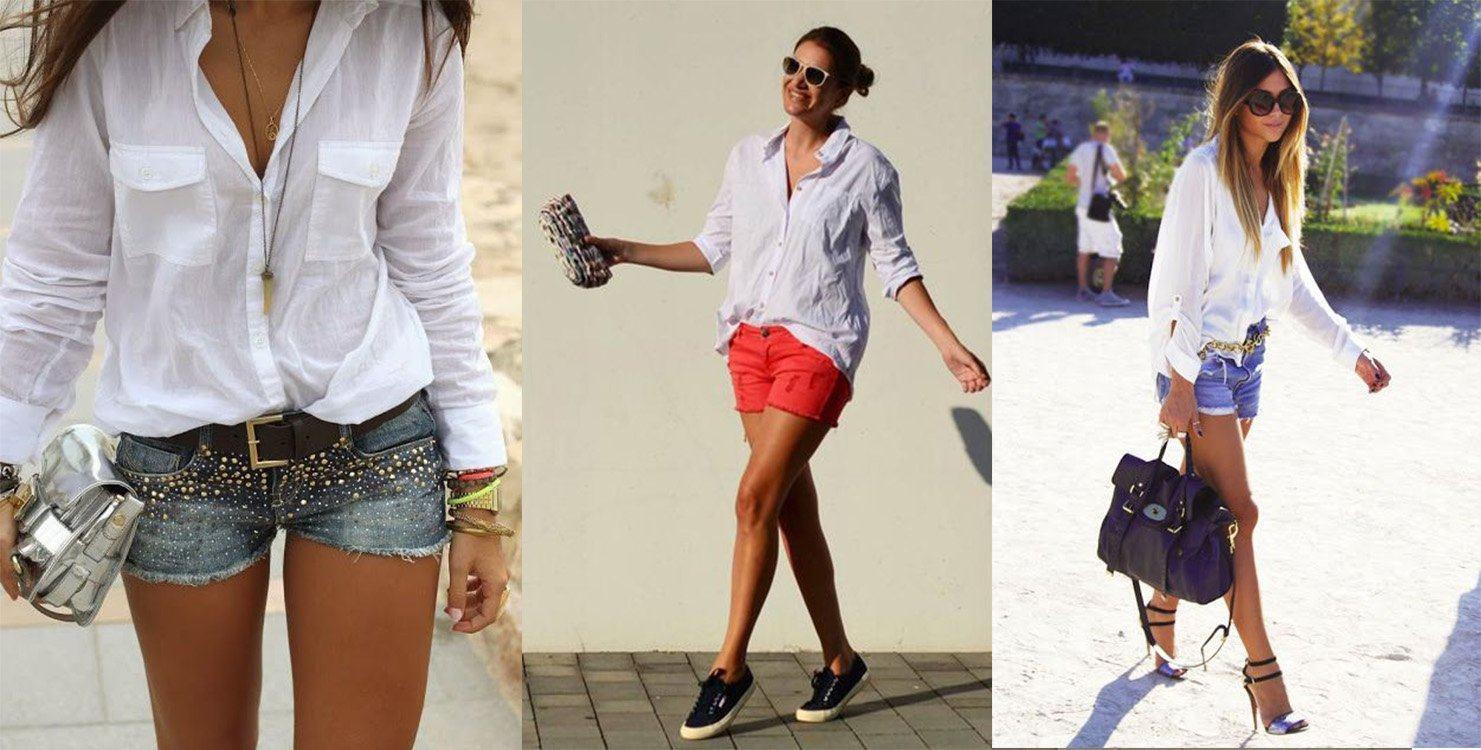 Shorts com camisa branca pra sair a noite bem elegante | Na Internet