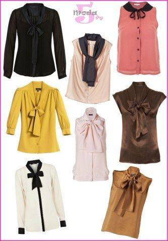 modelos de camisa feminina com gola gravata