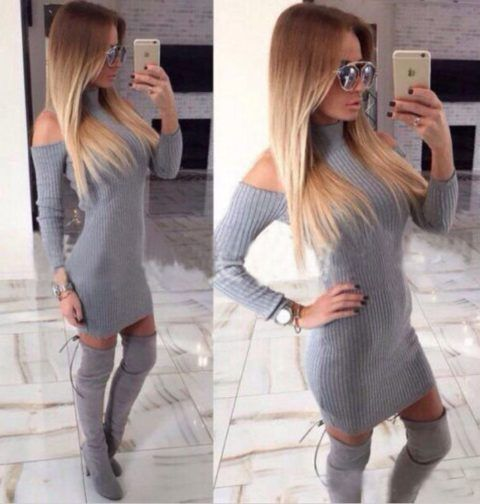 vestido-tricot-ombros-de-fora-cinza-manga-longa