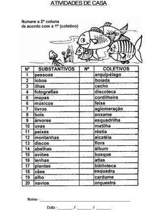 imprimir lista de substantivos coletivos