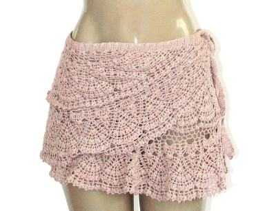 saidas de praia de croche rosa