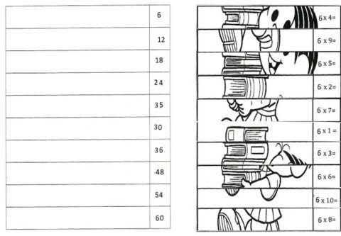 Tabuada Do 6 Para Imprimir Turmas Do 1 E 2 Ano Fundamental