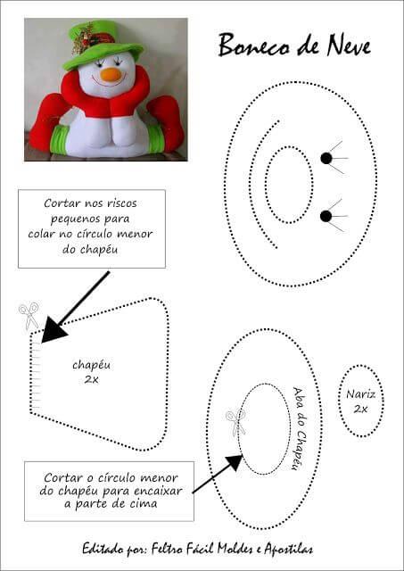 Famosos Moldes Enfeites de NATAL em Feltro para Imprimir | Na Internet XE35