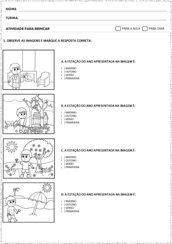 Atividades Estacoes Do Ano Para Imprimir E Ensinar