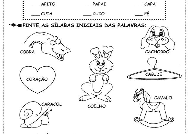 Atividades de Alfabetização para 1, 2 e 3 ano, Imprimir